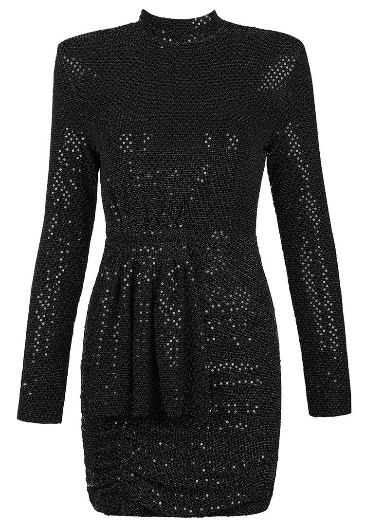 Long Sleeve Mini Sequin Dress Black