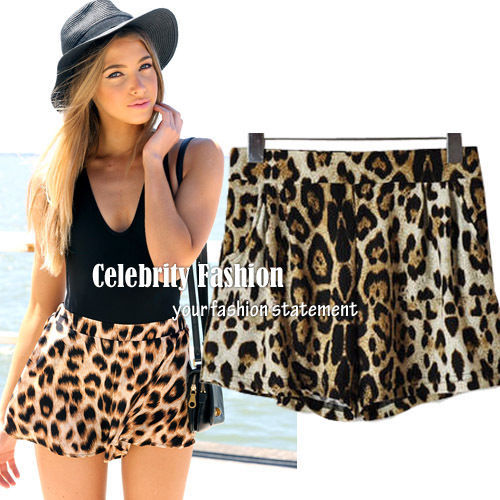SH13 3pcs/lot Celebrity Style Sexy Leopard Animal Print Loose Fit Casual Shorts Hotpants Summer Hot Pants Plus Size S M L Free-in Shorts from Apparel & Accessories on Aliexpress.com