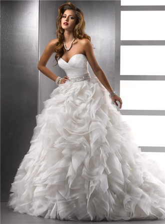 dress fit and flare white sweetheart neckline strapless silver belt wedding dress puffy dress
