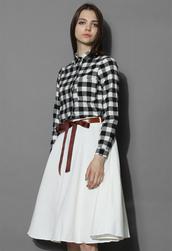 top,chicwish,classic check shirt,check shirt,classic shirt,spring shirt,summer shirt,look,outfit,chicwish.com
