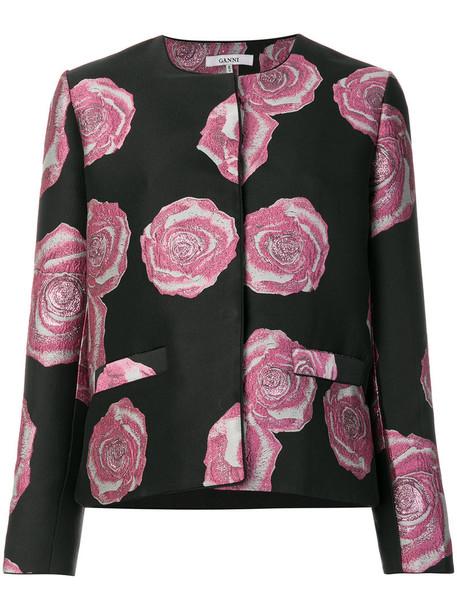 Ganni jacket embroidered jacket embroidered women floral black