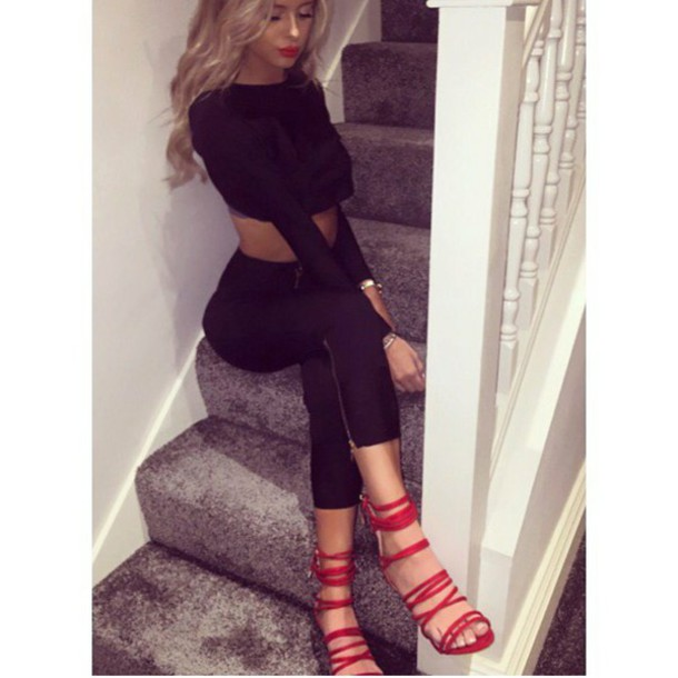 shoes matching set all black everything red fall outfits skinny jeans crop tops