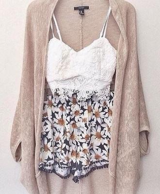 cardigan top shorts flowery