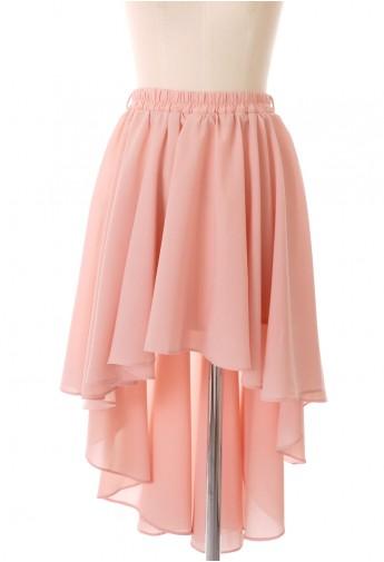 Asymmetric waterfall skirt in peach