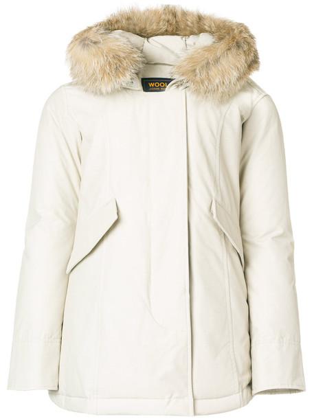 Woolrich coat women classic nude cotton