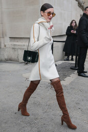 dress,bella hadid,model,streetstyle,suede boots,over the knee boots,fashion week 2017,sweater dress,turtleneck,turtleneck dress,fashion week
