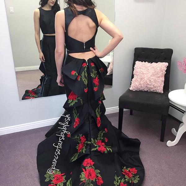 4e472d9e92c21 dress sherri hill roses black dress fit and flare dress prom dress cut-out  dress