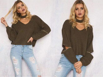 sweater gamiss army green jeans denim distressed denim shorts fashion style cute streetstyle trendy black friday cyber monday choker necklace knitwear knitted sweater christmas chic