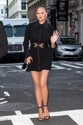 dress,long sleeves,mini dress,belt,sandals,sandal heels,model off-duty,celebrity style