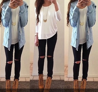 top white t-shirt long sleeve chic half sleeve blue jacket denim shirt brown boots booties high heels high heeled boots necklace chicfashion jacket jewels skirt jeans shoes