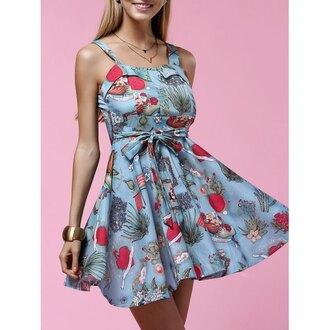 dress rose wholesale floral girl girly vintage vintage dress mini dress skater dress summer