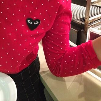 sweater commedesgarçonstshirt polka dots shirt red