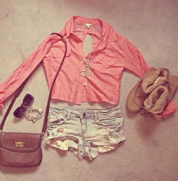shoes khaki tan beige blouse pink denim shorts denim coral ripped shorts