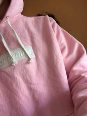 sweater,pink supreme,shirt,sweatshirt,supreme,pastel,pale,tumblr,vaporwave,grunge,cute,jacket,hoodie,baby pink