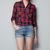 Fashion Plaids Checks Flannel Womens Button Down Casual Shirts Tops Blouses | eBay