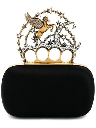 unicorn women embellished clutch black bag