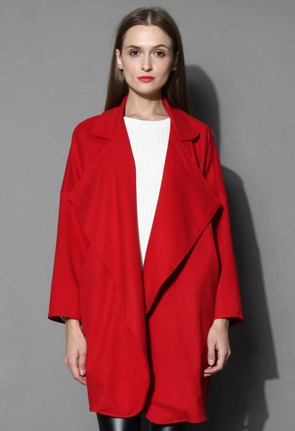 chicwish mist waterfall drape coat red coat