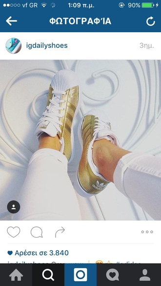 shoes superstar adidas gold adidas white