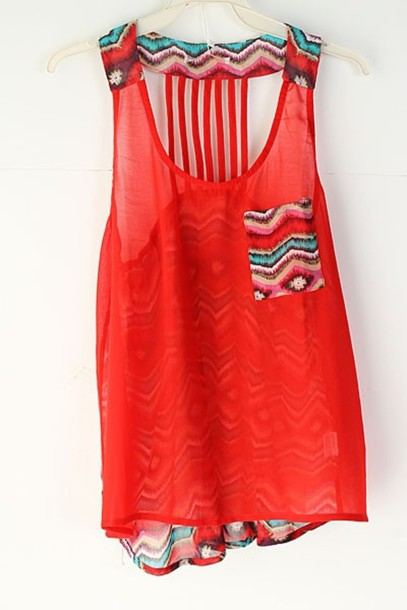 Tank Top Orange Tribal Pattern