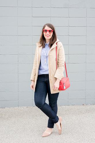 styleontarget blogger sunglasses jewels shirt coat bag jeans red bag shoulder bag beige coat ballet flats skinny jeans striped shirt plus size jeans curvy plus size