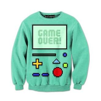 sweater adventure time sweatshirt game over gameboy shirt game boy blue green bmo adventure time sweater floppysweater blue cartoon adventure time sweater blue sweater