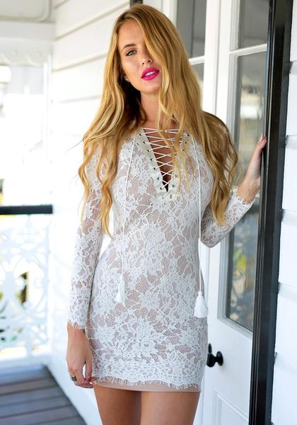 White Lace-Up Sheath Lace Dress