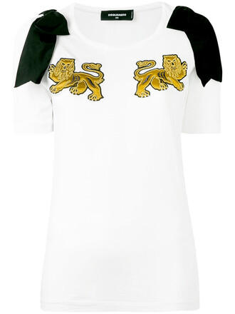 t-shirt shirt embroidered lion women white cotton top