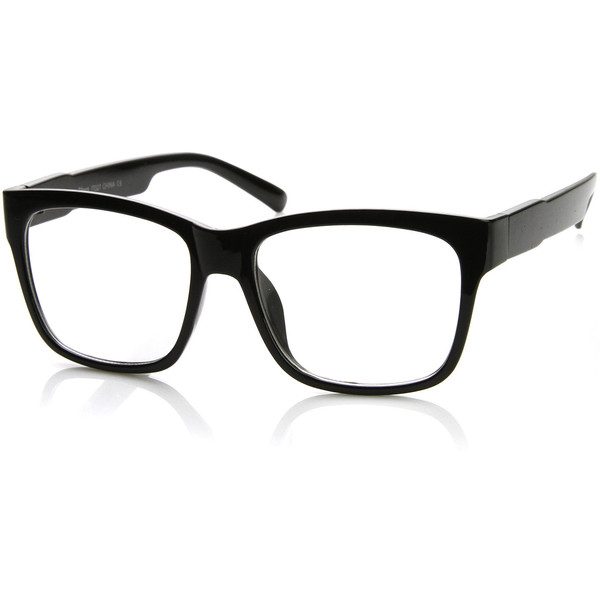 Large Retro Clear Lens Nerd Hipster Wayfarer Glasses 8789 - Polyvore