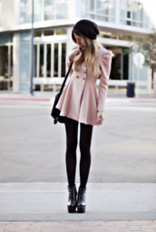 leggings,black leggings,black beanie,fall coat,double breasted,pink coat,wool coat,platform shoes,fall outfits,jacket,coat,pink,formal,looks cozy,forwinter
