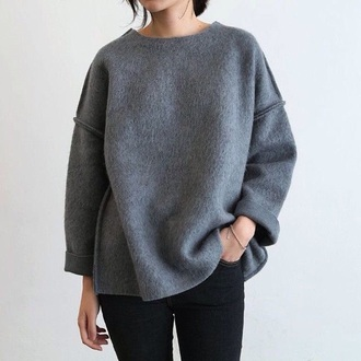 sweater fashion style grey sweater oversized sweater