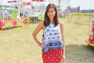perla oreneta blogger asos patterned skirt elephant red skirt