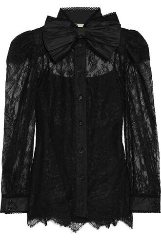 blouse bow lace black top