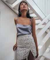 skirt,earrings,shirt,silk shirt,black and white skirt,button up skirt