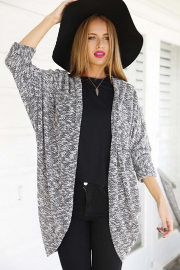 Cardigan: grey, grey sweater, grey cardigan, zaful, black, fall ...
