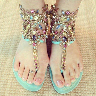 shoes flat sandals jeweled sandals