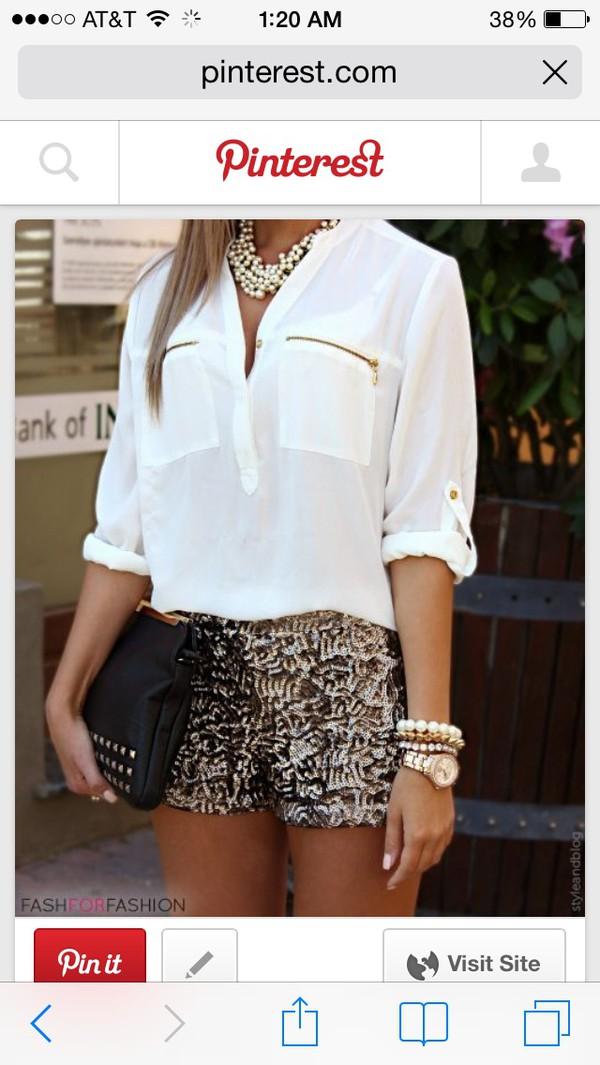 blouse white blouse jewels bag