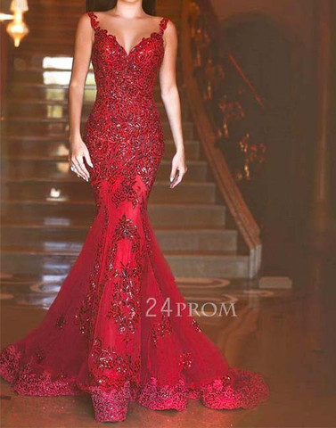 Red lace sequin long mermaid long prom dress, formal dress - 24prom