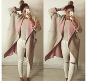 coat,beige,beige coat,knee hole jeans,knee hole,white jeans,vintage process,hipster,style,women,gorgeous,fashionista,cute,girly,stylish,trendy,cool,girl,pastel,oversized,knitwear,preppy,beautiful,warm,on point clothing,jeans,frederiqudesnus,jacket,long,pink,classy jacket,classy,comfy,winter outfits,trench coat,nude,long coat,winter coat