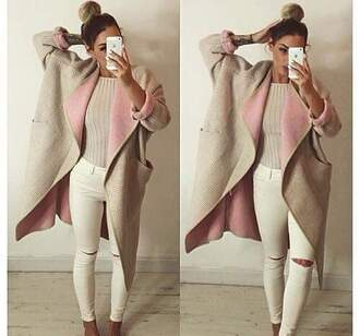 coat beige beige coat knee hole jeans knee hole white jeans vintage process hipster style women gorgeous fashionista cute girly stylish trendy cool girl pastel oversized knitwear preppy beautiful warm on point clothing jeans frederiqudesnus jacket long pink classy jacket classy top comfy pink coat winter outfits trench coat nude long coat winter coat