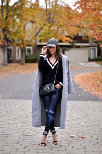 hapa time blogger bag ripped jeans grey coat cap