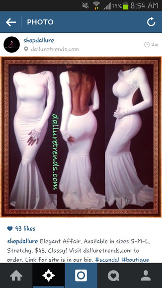 white dress fitted dress long sleeve dress backless white dress