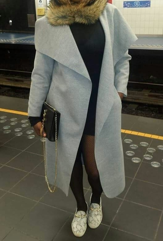 grey coat long coat yves saint laurent black dress fashion coat