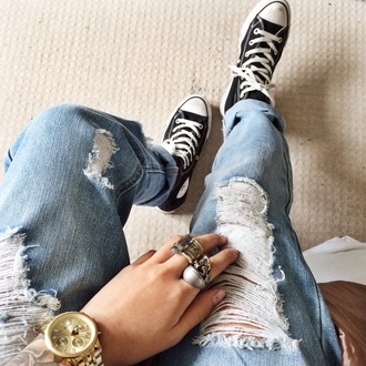 jeans ripped worn grunge hipster edgy