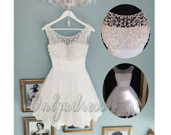 Short white pearl bead lace homecoming dress white by onlyudress