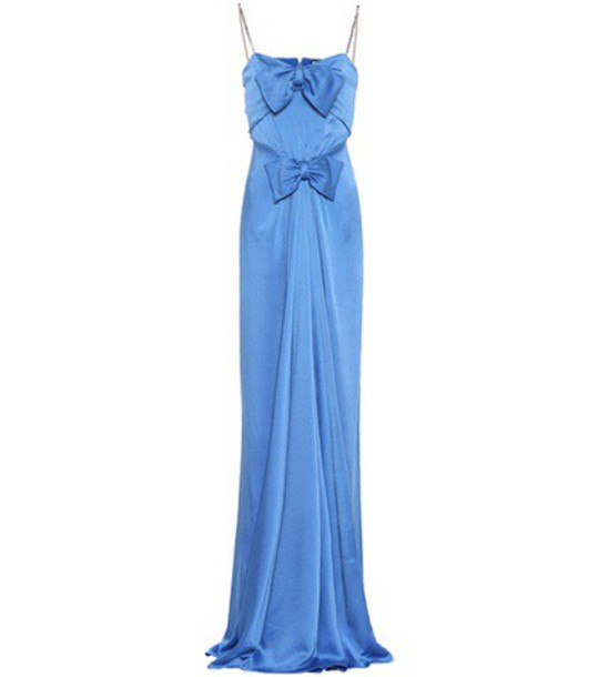 gucci gown embellished satin blue dress