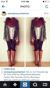 bag,green,indie,outfit,cute,style,black,white,tan,leather,burgundy,scarf,blouse,shoes,jeans,coat,jacket