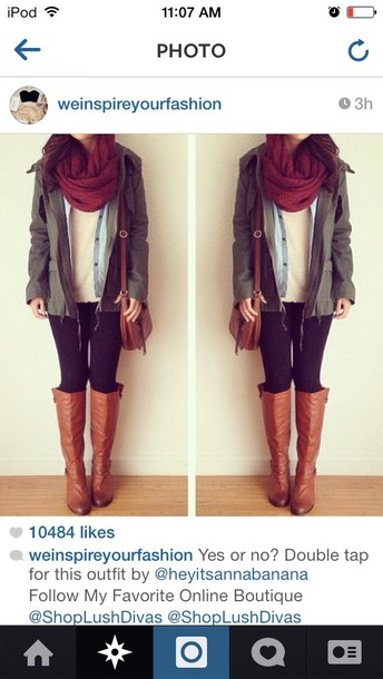 c6aec823db6d bag green indie outfit cute style black white tan leather burgundy scarf  blouse shoes jeans coat