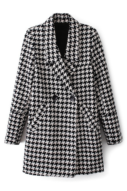 ROMWE | ROMWE Lapel Houndstooth Print Buttoned Coat, The Latest Street Fashion