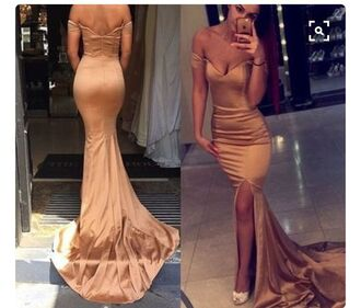 dress gown prom dress train dress gold dress