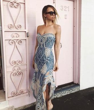 dress denim denim dress lace dress maxi dress slit dress sunglasses spring spring outfits streetstyle